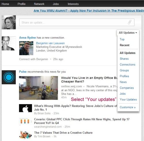 How To View 'Your Updates' on LinkedIn